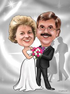 pareja caricaturizada bodas de plata regalo