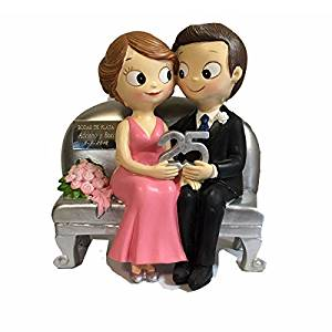 comprar figura con placa grabada para bodas de plata