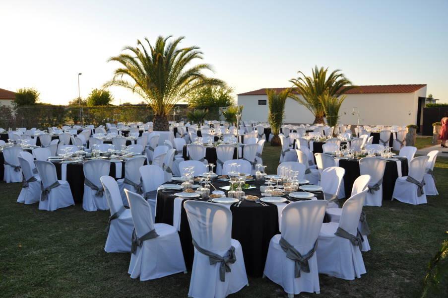 celebración bodas de plata decorado en jardín