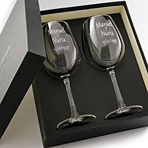 comprar estuche con copas de vino personalizadas bodas de plata