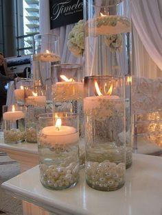 decoración con velas boda de 25 años