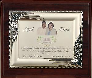 placa conmemorativa bodas de plata felicitaciones