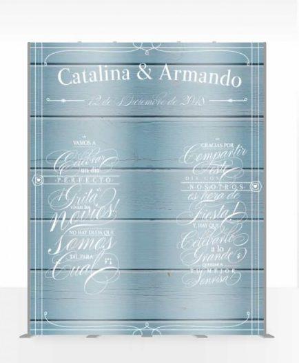 photocall de fondo azul para bodas de plata