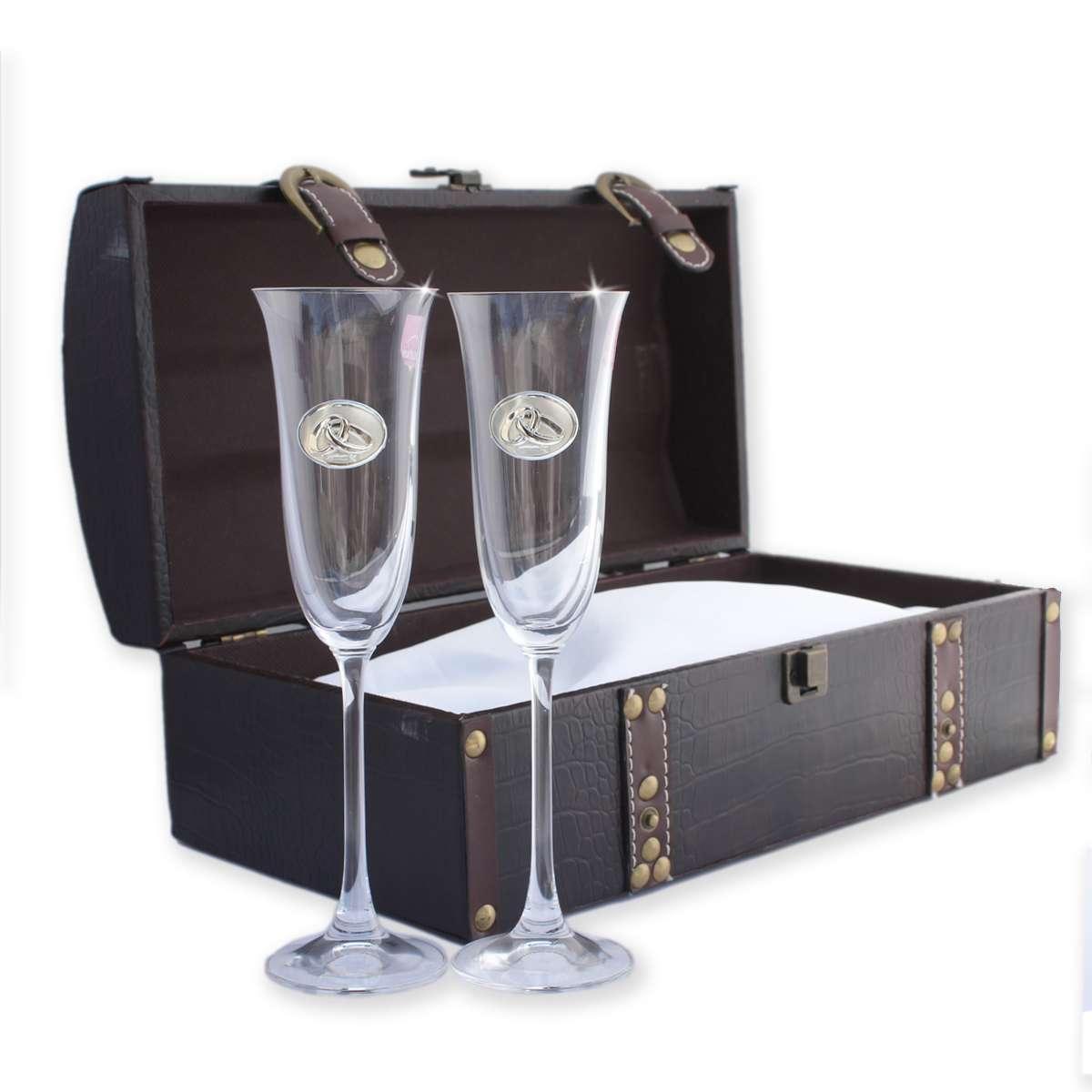 cofre con par de copas regalos bodas de plata