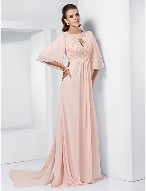 vestido largo y cómodo para bodas de plata color perla